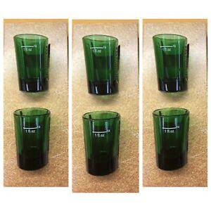 JAGERMEISTER Set Of 6 JAGER GREEN GLASS SHOT GLASSES W/ EMBOSSED LOGO - NEW!