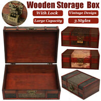 Large Wooden Storage Box Trinket Jewelry Treasure Lock Chest Decorative