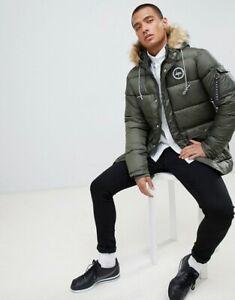 Hype puffer parka jacket in khaki