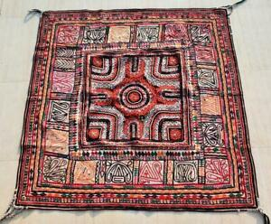 "48"" x 48"" Vintage Rabari Throw Embroidery Ethnic Tapestry Tribal Wall Hanging"