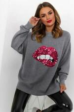 WOMENS GREY OVERSIZED SEQUIN KNIT JUMPER TOP