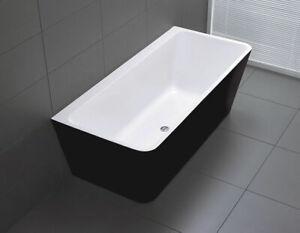 Black & White Back To Wall 1500 mm Free Standing Bath Tub Acrylic Freestanding
