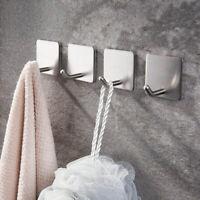 4pcs Bathroom Self-Adhesive Stainless Steel Hooks Hanger Wall Door Sticks Holder