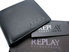 Genuine REPLAY Black LEATHER WALLET & COIN POCKET Holds Cards Notes REP1