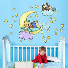 R00281 Wall Stickers Sticker Adesivi Murali Orsetto luna e stelle 90x40 cm