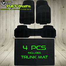 NEW 4PC CAR FLOOR MATS W TRUNK COVER UNIVERSAL FRONT REAR BLACK ALL WEATHER RUGS