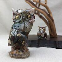 Pair of Vintage Owl Figurines MCM Colorful Stones set in Resin Googly Eyes