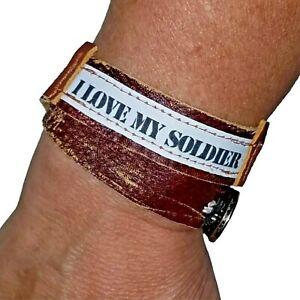 Double Wrap Leather Bracelet I Love My Soldier Military Wife Girlfriend Jewelry