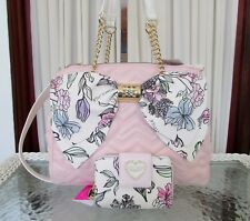 Betsey Johnson Big Bow Floral Triple Entry Satchel Crossbody Bag & Wallet NWT