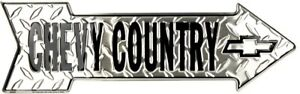 """Chevy Country Directional Metal Arrow Sign 20"""" x 6"""" ↔ Embossed Chevrolet Decor"""