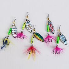 5 feinste Spinner 6g mit Lockfedern, als Köder für Forellen Barschen (spinner2)