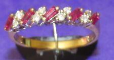 Secondhand 18ct Oro Amarillo Baguette Rubí & Diamante Redondo Anillo De Banda