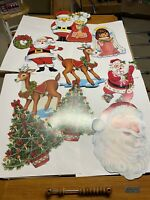 vintage christmas paper decorations Santa Mrs Claus Angel Tree Lot Of 9 See Pics