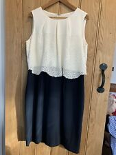 HOBBS Navy Blue/Cream Sleeveless Shift Dress with Overlay Top Size 18 Worn Once