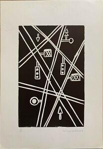 Franco Caturegli da Buti xilografia numerata Incrocio  50x35 firmata anno 1982