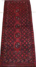Afghan Turkmen Bokhara Handmade Genuine Wool Red Black Thin Hall Runner 50x141cm