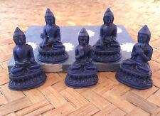 "Set of Five Buddhas Lapis Blue Statue - Resin 2"" Buddhas"