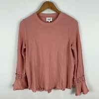 Seed Heritage Womens Shirt Top XS Extra Small Peach Pink Long Sleeve Round Neck