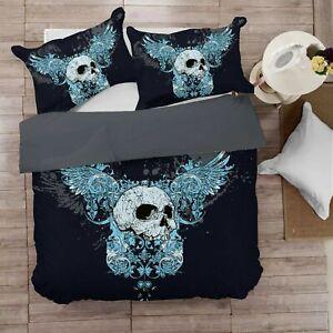 Digital Printing Soft 1000TC Quilt Duvet Doona Cover Set Double/Queen/King Skull