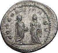 Salonina & Gallienus 255AD Authentic Silver Rare Ancient Roman Coin i58982