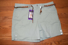 NWT Womens Gloria Vanderbilt VIOLET Style Sage Green Belted Shorts Size 8