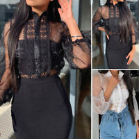UK Womens Puff Sleeve Cuffs Lace Patchwork Shirt Evening Party Club Tops Blouse