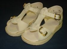 VTG Little Girl 9-12m sz 4 White Sandal NIB Gold Buckle Wee Walker JFS Baby Shoe
