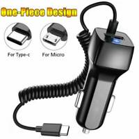 Fast Car Charger Adapter with Micro USB Type-C Cable Cord For Android Cell Phone