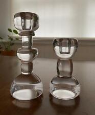 """2 Rare Lindshammar Glass Christer Sjogren Candle Holders 8"""" 6"""" Modernist Sweden"""
