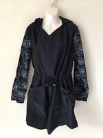 Lularoe Supply Cinched Waist Jacket Black Floral Rose Sleeves Hooded Women's XL