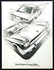 "1970 Fiat 124 Sport Coupe Sketch art ""MSRP $2940"" vintage promo print ad"