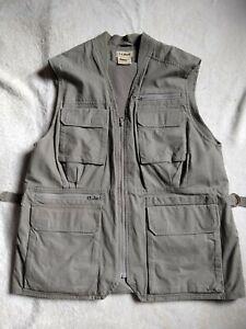 Vintage LL Bean Fly Fishing Vest Hunting Safari Men's Size Large Cargo Green