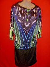 ~CUSTO BARCELONA Graphic Gothic Goth Print Silky Satin tube Dress Size M~