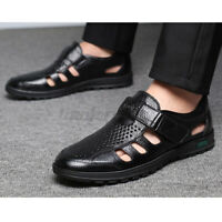 Men's Summer Leather Sandals Hollow Out Breathable Shoes Non-Slip Beach Casual