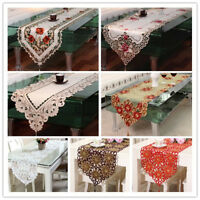 Vintage Embroidered Lace Table Runner Mats Doilies Satin Wedding Party Decor