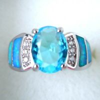 "GORGEOUS BLUE  FIRE OPAL/ AQUAMARINE RING UK Size ""R"" US 9"
