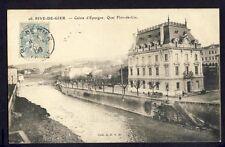 Carte Postale 42 - RIVE de GIER (Loire) Banque CAISSE d'EPARGNE Quai Flor-de-Lix