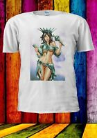 Statue Of Liberty Sexy Version USA America Funny Men Women Unisex T-shirt 991