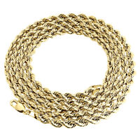 18K Yellow Gold Diamond Cut Solid Rope Chain 4mm Link Necklace 22 - 24 Inches