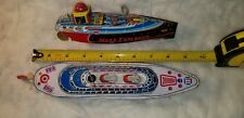Pair of Vintage Wind Up Tin Toy Boat Ship Metalmania Mars Explorer Water Ride US
