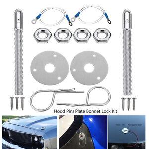 Universal Car Racing Style Steel Mount Hood Pin Pins Plate Bonnet Lock Kit AU