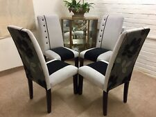 4 Habitat  Dining  Chairs Newly Upholstered in Grey and Black