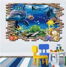 3D Ocean Dolphins Home Decor Removable Wall Sticker UK