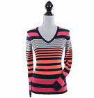 Tommy Hilfiger Women Long Sleeve Pullover V-Neck Stripe Sweater - Free 0 Ship