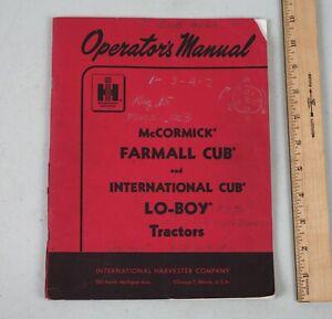 1961 McCormick Farmall International Cub Lo-Boy Tractor Operators Manual
