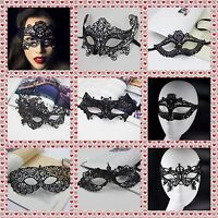 BLACK STUNNING VENETIAN MASQUERADE EYE MASK HALLOWEEN PARTY LACE FANCY DRESS