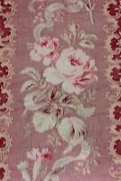 """Pretty French Antique Roses & Ribbons Shabby Cotton Home Fabric c1880~31""""LX32""""W"""
