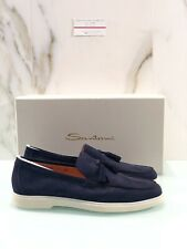Mocassino Tassel Santoni Uomo Blu 42.5 15997 Luxury Loafer Men Santoni