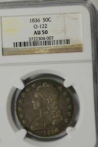 1836 Capped Bust Half Dollar : NGC AU50  Overton 122