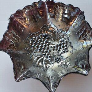 ANTIQUE IMPERIAL GRAPE PURPLE CARNIVAL GLASS SALAD BOWL